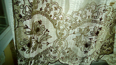 Antique French fine linen and embroidered net cradle veil, bed curtain.19THc