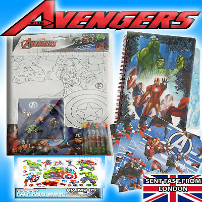 Avengers Gift Set Stickers Tattoos Crayons Activities Note Book Wrapping Paper