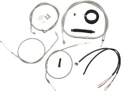 LA Choppers Stainless Braided Cafe Handlebar Cable and Brake Line Complete Kit