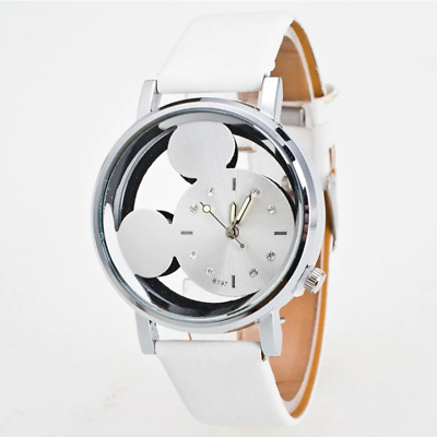 Mickey Minnie Mouse Ears White Strap TV Leather Analog Quartz Wrist Watch Unisex