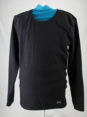 Womens Under Armour Black Fitted Mid Weight Athletic Shirt Base Layer Sz Medium