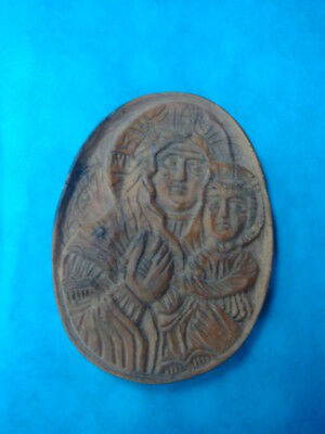 RARE GREEK WOODEN AMULET VIRGIN MARY ''PANAGIA'' AND JESUS CHRIST  1960s