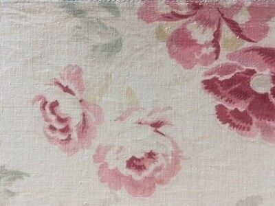 """Antique 19th C French Madder Dye Floral Fabric Cotton 24"""" W Roses"""