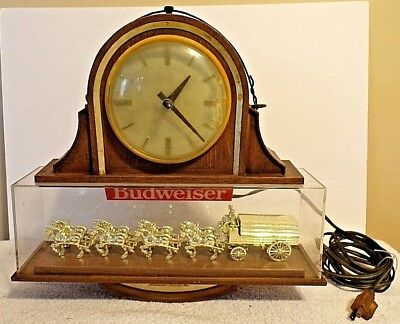Vintage Budweiser Clydesdale Horse Team Hanging Sign Running Bar Clock