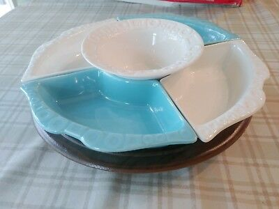Vintage Maddux of California Lazy Susan in original Box Aqua