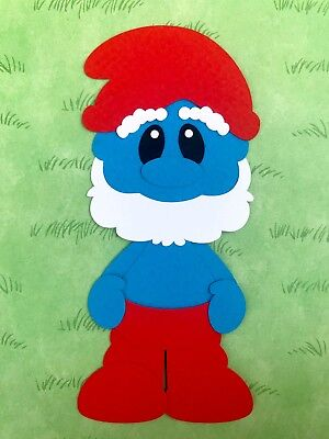 Handmade fully assembled Papa Smurf inspired die cut / paper piecing