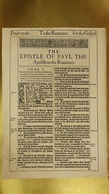 """* TRUE FIRST EDITION * ROMANS TITLE PAGE 1611 King James """"HE"""" Bible Leaf"""