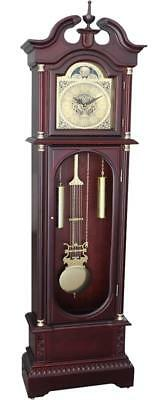 Vintage Grandfather Clock Tall Long Case Blue Moon Roman Antique Floor Wood Oak
