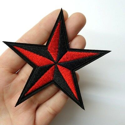 Black Red Nautical Star Patch Iron Onsew On Embroidered 35
