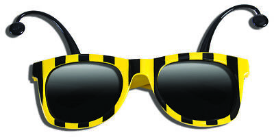 8dba99115b4 Funny BUMBLE BEE SUNGLASSES Bug Mask Child Black Yellow Stripe Antenna  Insect