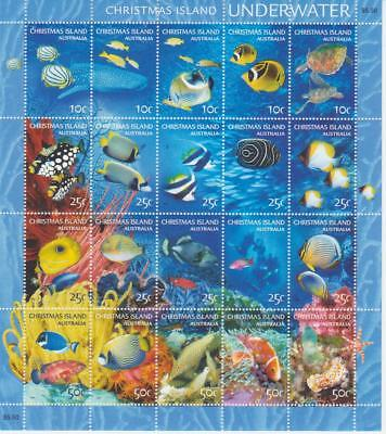 Christmas Island 2004 Underwater Sheetlets Of (20)  Mnh