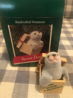 "Hallmark Handcrafted Ornament ""Special Delivery"" Seal Christmas Ornament '80s"