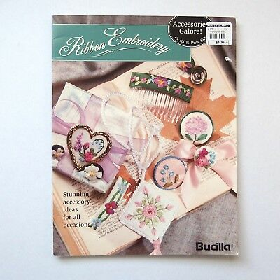 Bucilla Ribbon Embroidery with pattern templates. 18 page booklet. Good cond.