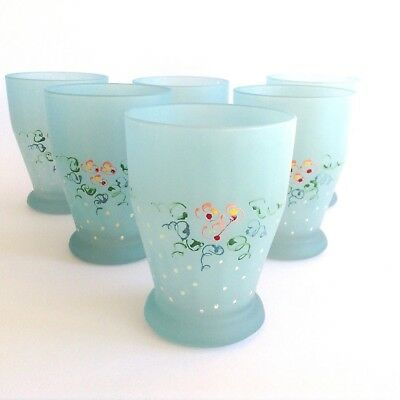 6 Vintage Cool Blue Drinking Glasses Set Hand Painted Frosted White Polka Dots