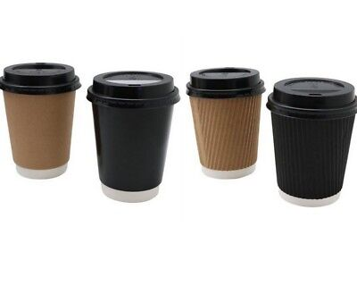 Disposable Coffee Cups w Lids Takeaway Paper Coffee Cup 240ml Bulk 2 Assorted