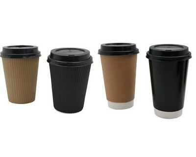 Disposable Coffee Cups w Lids Takeaway Paper Coffee Cup 360ml Bulk 2 Assroted