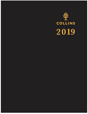 Diary 2019 Collins Sterling Black Pocket A7 Day to Page w/ Pencil #133