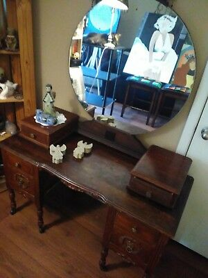 Vintage 1950s Art Deco Vanity with Round Mirror wood 6 drawers Local Pick Up