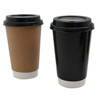 Double Wall Coffee Cups w Lids Disposable Takeaway Paper Coffee Cup 480ml Bulk