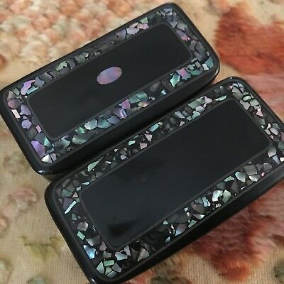 2 Antique Paper Papier Mache Snuff Boxes Shell Abalone Inlaid Trinkets Victorian
