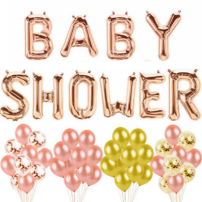 16'' Baby Shower Foil Letter Balloons Christening Party Bunting Banner Rose Gold