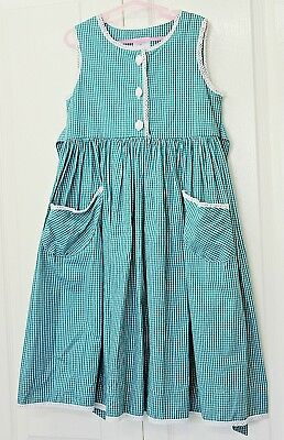 Vintage Girls Dress Size 4 Green Plaid Checked Cotton Party 90s Clothing Frock