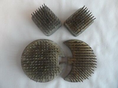 Vintage 1965 Four Shaped Metal Spiked Flower Holders - Lead Base.