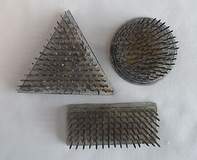 Vintage 1965 Three Different Shaped Metal Spiked Flower Holder - Lead Base.