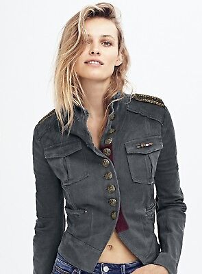 a70a8b87809 NWT Free People gray red Shrunken Beaded Epilets Fancy Button Military  Jacket S