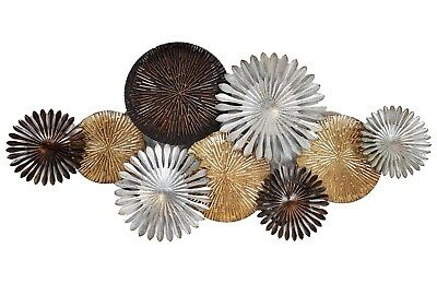 Abstract Metal Wall Art Circles Hanging Sculpture Silver Gold Copper Home 109 cm