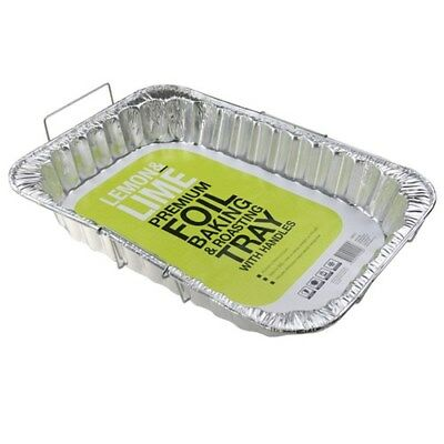 24x Premium Foil Tray w Wire Handles Disposable Takeaway BBQ Oven Foil Trays
