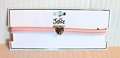 Justice Girl's Pink Choker Necklace with Gold Heart NEW