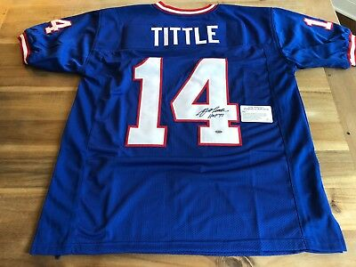 finest selection 125ad 0c1a9 YA TITTLE SIGNED Jersey Custom Autographed Jersey New York Giants Hof 71 Coa