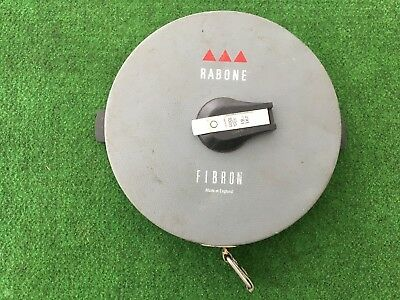 Vintage Grey Fibron Rabone Chesterman tape measure 30m / 100 ft. Made in England