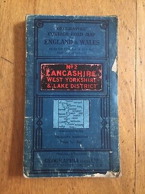 Geographia - 3 Miles To Inch Cloth Map Lancashire, West York's & Lakes No 2 1923