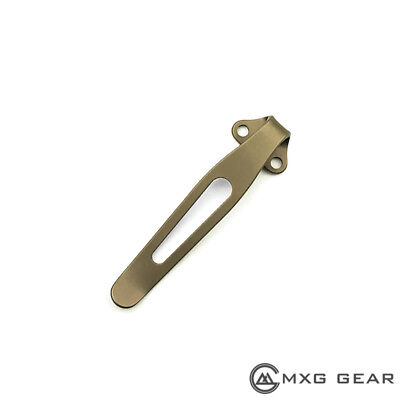 (Bronze) Custom Titanium Low Rider Pocket Clip Made for Kershaw Knockout Knife
