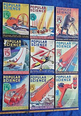 lot of 9 front cover APPROX 1930s POPULAR SCIENCE MAGAZINE texaco oil AD grease