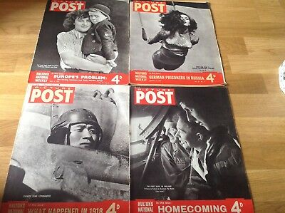 4 Picture Post Magazines 2 X 1943 & 2 X 1945 ( Hulton's National Weekly )