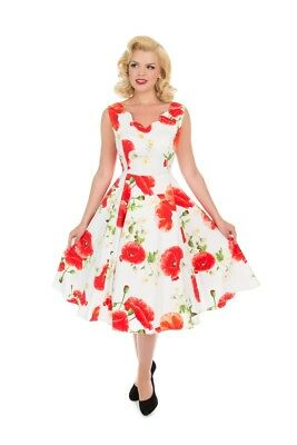 a9f4fdfd486e Hearts & Roses 50's Vintage White Opium Poppy Floral Rockabilly Swing Dress