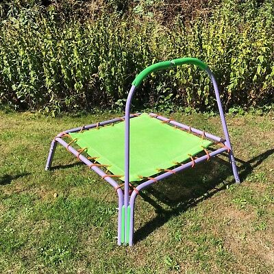 Kids Small Trampoline with padded support bar (purple & green)
