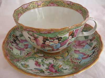 (*_*) 2 PC Chinese Famille Rose Medallion Cup & Saucer Canton Export Porcelain