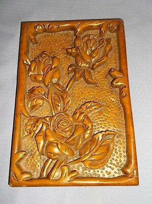 "Vintage/antique Expertly Carved Wood/wooden Roses Wall Plaque  8 3/4"" X 5 3/4"""