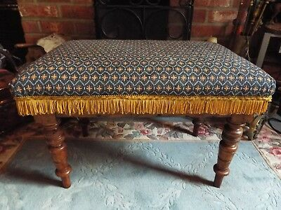 Large Upholstered Victorian Window Seat Foot Stool Carved Walnut Circa 1880