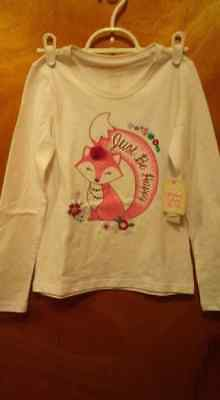 Little Girls Faded Glory Long Sleeved T-Shirt Size M (7-8) White NEW
