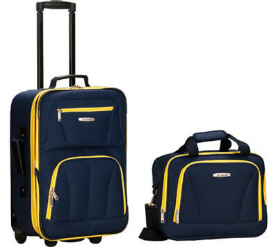 Carry-On Luggage Set Navy and Yellow 2 Piece Travel Skate Wheels Rolling Liggage