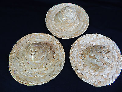 "Miniature Barbie Straw Hats 4"" Mini Wicker Straw Hats 3 pcs Set Hand Made #Z154"