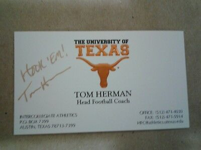 Tom herman autographed business card with coa texas longhorns tom herman autographed business card with coa texas longhorns football reheart Image collections