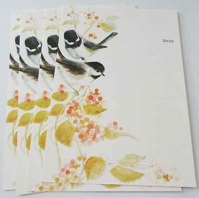 Other vintage greeting cards vintage greeting cards paper 4 unused vtg fold a notes chickadees on berry branches w leaves current inc m4hsunfo
