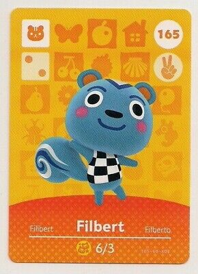 Animal Crossing amiibo Card: Filbert 165 (Series 2) Squirrel New Leaf NA