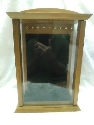Oak And Glass Hanging Jewelry Display Case With Nine Posts